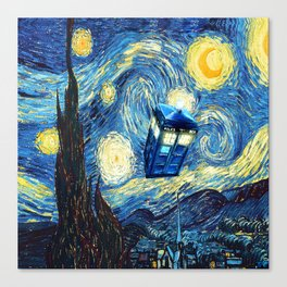 Soaring Tardis doctor who starry night oil painting Canvas Print
