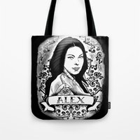 alex vause Tote Bags featuring Alex Vause by SwanniePhotoArt