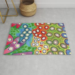 Colorful Circles Swimming in Green Rug
