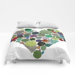 Green dots heart Comforters