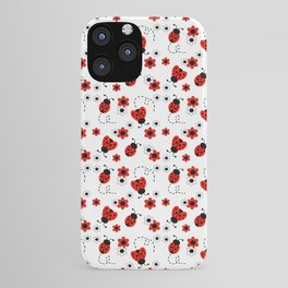 Red Ladybug Floral Pattern iPhone Case