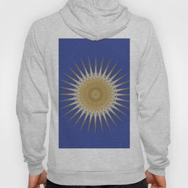 Bright Blue Gold Star Mandala Hoody