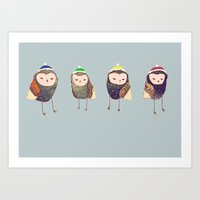 owls Art Prints featuring Owls. by Ashley Percival illustration
