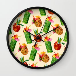 Tiki Cocktail Pattern - Cream Wall Clock