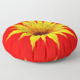 Decorative Yellow Sunflower On Chinese red Art Floor Pillow