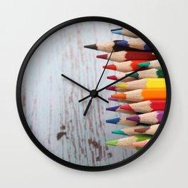 Rainbow of pencils  Wall Clock