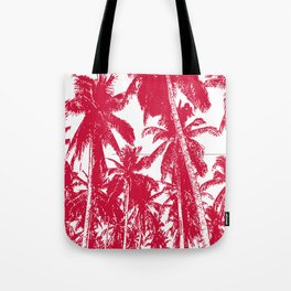 Palm Trees Design in Red and White Tote Bag