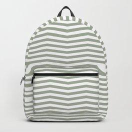 Desert Sage Grey Green and White Chevron Stripe Backpack
