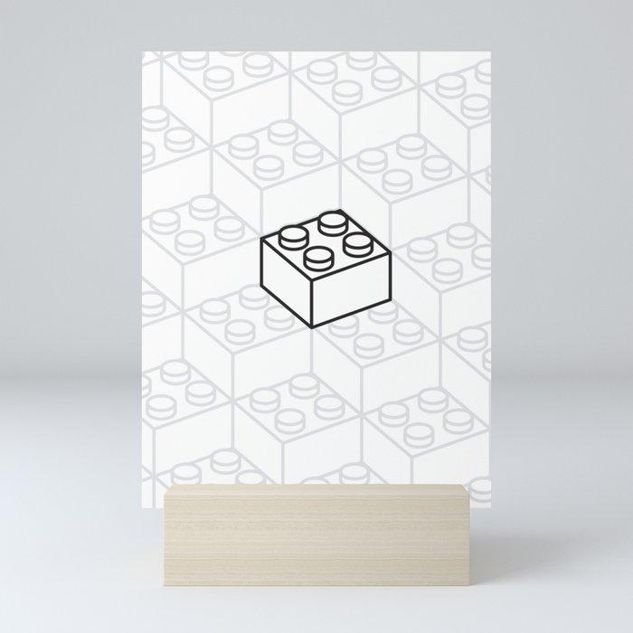 2x2 Legoblock White pattern Mini Art Print
