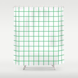 Grid Pattern Green Shower Curtain