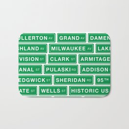Famous Chicago Streets // Chicago Street Signs Bath Mat