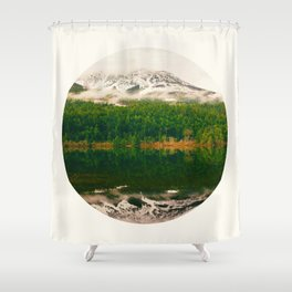 Mid Century Modern Round Circle Photo Graphic Design Reflective Snow Mountain Green Forest Shower Curtain