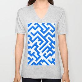 White and Brandeis Blue Diagonal Labyrinth Unisex V-Neck