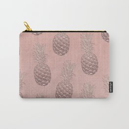 Precious Pineapple Pattern Rose Gold Carry-All Pouch