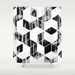 Elegant Black and White Geometric Design Shower Curtain