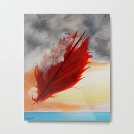 A RED FEATHER BLOWS NORTH Metal Print