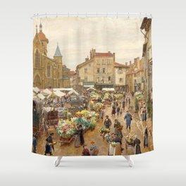 Flower Market, Paris, France floral landscape painting by Firmin Girard Shower Curtain