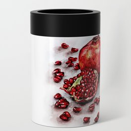 Red pomegranate watercolor art painting Can Cooler