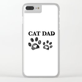 Cat Dad text. Doodle cat paw print and heart Clear iPhone Case