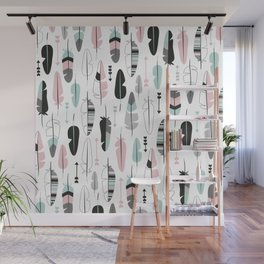 Arrows and feathers summer pattern Wall Mural