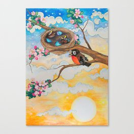 Spring: Mother Robin Canvas Print