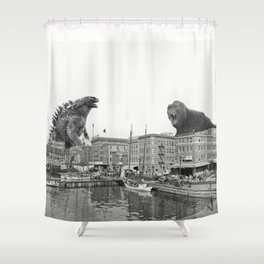 Godzilla and King Kong Rumble in Baltimore Shower Curtain