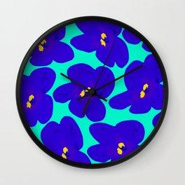 Large Blue Retro Flowers Turquoise Background #decor #society6 #buyart Wall Clock
