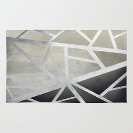 Textured Metal Geometric Gradient With Silver Rug