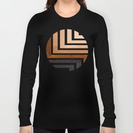 Raw Umber Circle Round Framed Mid Century Modern Aztec Geometric Pattern Maze Long Sleeve T-shirt