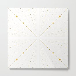 Infinity Space Dots 2 -White and Gold- Metal Print
