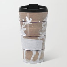 Wood slat deer in the snowy woods Metal Travel Mug