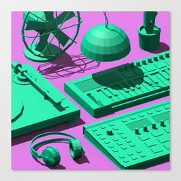 Low Poly Studio Objects 3D Illustration Canvas Print