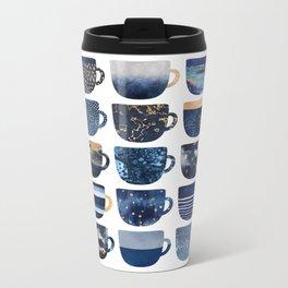 Pretty Blue Coffee Cups Metal Travel Mug