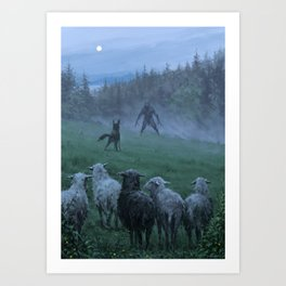 Shepherd and his faithful dog Art Print