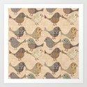 Nostalgic Autumn Patchwork Bird Pattern in warm retro colors #autumndecoration by lebensart