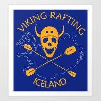 Viking Rafting Iceland Art Print