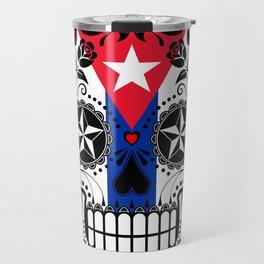 Sugar Skull with Roses and Flag of Cuba Travel Mug