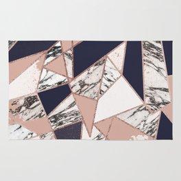 Geometric Navy Blue Peach Marble Rose Gold Triangle Rug