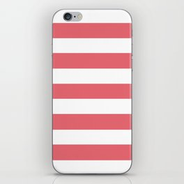 Light carmine pink - solid color - white stripes pattern iPhone Skin