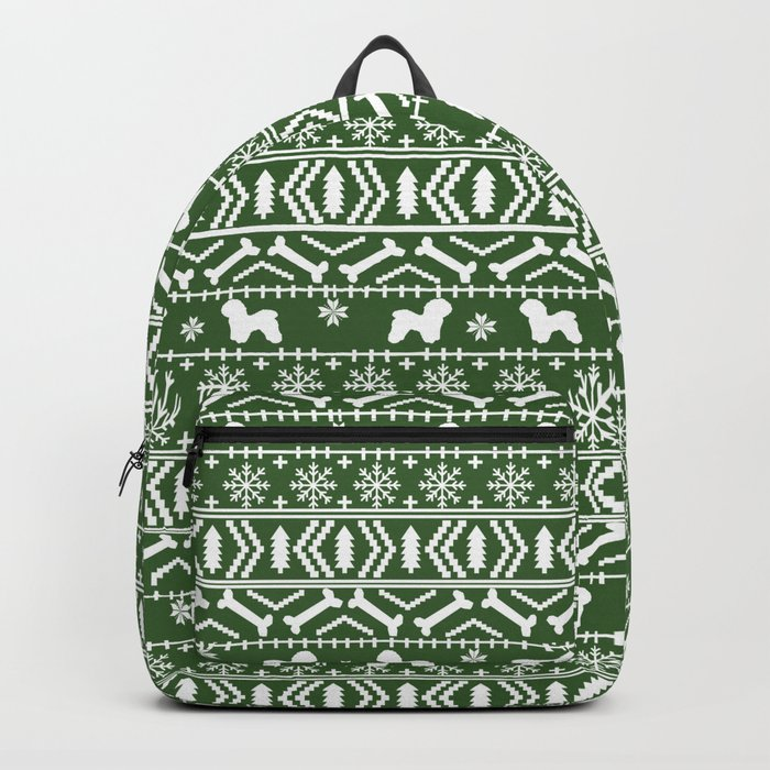 Bichon Frise christmas fair isle green dog silhouette minimal winter sweater holiday Backpack