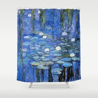 monet Shower Curtains featuring water lilies a la Monet by Jo.PinX