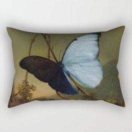 Blue Morpho Butterfly 1865 By Martin Johnson Heade | Reproduction Rectangular Pillow