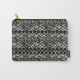 tie dye geometric line in black and white Carry-All Pouch