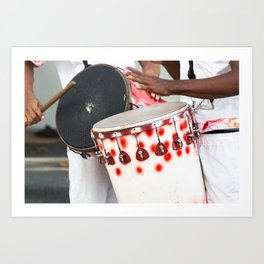 Hands playing drums at carnival in Brazil. Art Print