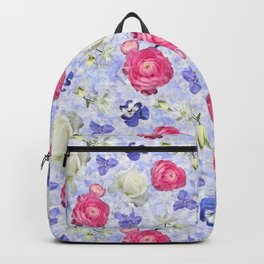 Rose Ranunculus Pansy Flowers over Pale Blue Backpack