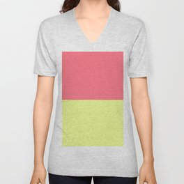 Modern neon lime yellow blush pink coral colorblock Unisex V-Neck