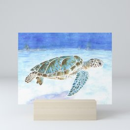 Sea turtle underwater Mini Art Print