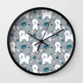 Bichon Frise dog pattern Wall Clock