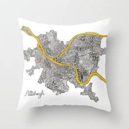 Pittsburgh Neighborhoods | 3 Gold Rivers Throw Pillow