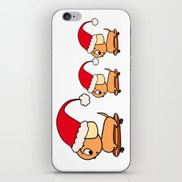 Christmas Dogs on Skateboards with Santa Hats iPhone Skin